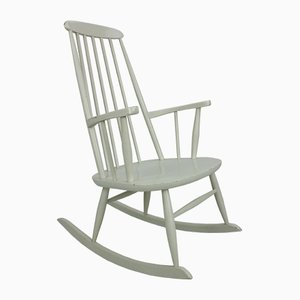 Rocking Chair Scandinave Vintage Blanche, 1960s