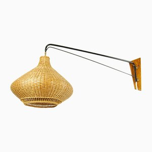 Danish Wicker Crane Wall Lamp, 1960s