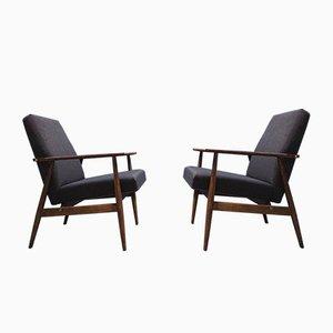 Dunkelgraue Mid-Century Sessel von H. Lis, 1970er, 2er Set