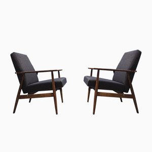 Mid-Century Dark Grey Armchairs by H. Lis, 1970s, Set of 2