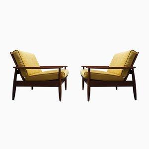 Dänische Mid-Century Sattellehnstühle aus Goldrute, 2er Set