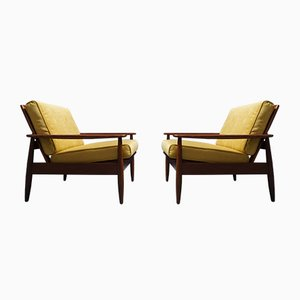 Mid-Century Danish Goldenrod Velvet Loungers, Set of 2