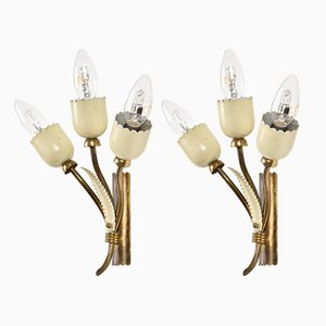 Italian Brass & Enamel Wall Lights, 1950s, Set of 2