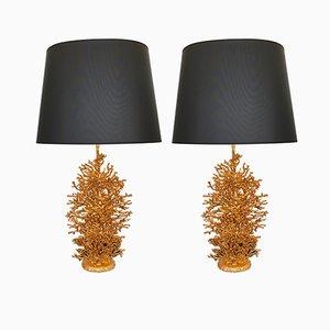 Französische Lampen aus vergoldeter Bronze in Korallen-Optik von Stephane Galerneau, 1990er, 2er Set