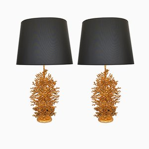 Lámparas francesas en coral de bronce dorado de Stephane Galerneau, años 90. Juego de 2