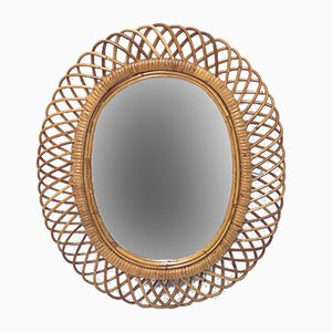 Italienischer ovaler Spiegel aus Rattan & Bambus, 1960er