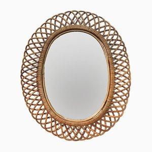Italienischer ovaler Spiegel im Rattan & Bambus-Rahmen, 1960er