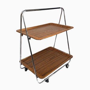 Faux Wood & Chrome Folding Bar Cart from Robex, 1970s
