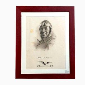 Vintage Lithographie des Piloten Renato Donati von Gianni Caminada, 1927