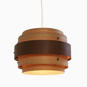 Lampada da soffitto impiallacciata in legno, anni '40