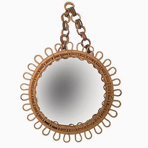 Spiegel mit Rahmen aus Rattan & Bambus, 1950er