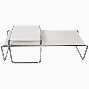 Mesas auxiliares Laccio de madera laminada blanca y acero, años 70. Juego de 2