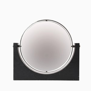 Espejo de doble cara de mármol y acero de Angelo Mangiarotti, años 60