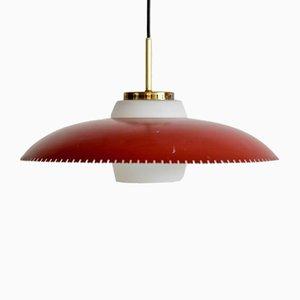 Lampe à Suspension en Laiton, Métal Peint et Verre Opalin par Bent Karlby pour Lyfa, Danemark, 1950s