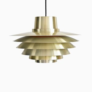 Large Brass Verona Pendant Lamp by Sven Middelboe for Nordisk Solar, 1970