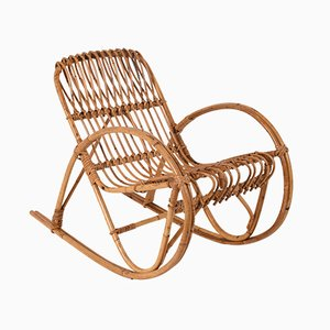 Italian Children's Rattan Rocking Chair by Franco Albini, 1950s