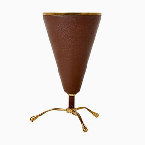 Conical Brass and Bordeaux-Lacquered Metal Table Lamp from Stilnovo, 1950s