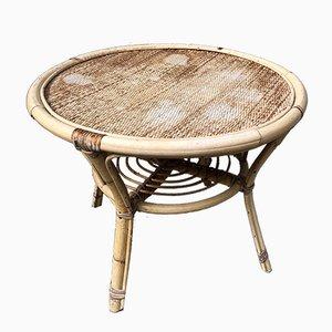 Table Basse Mid-Century en Bambou et Rotin