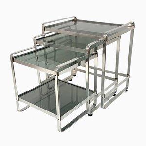 Mesas nido italianas de aluminio y vidrio ahumado, años 70