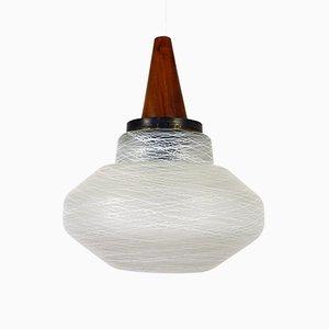 Scandinavian Glass Pendant with Wooden Cap, 1960s