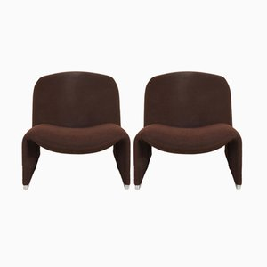 Brown Alky Armchairs by Giancarlo Piretti for Castelli, 1970s, Set of 2