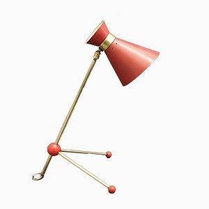 Lámpara de mesa o pared ajustable francesa roja de latón, años 50