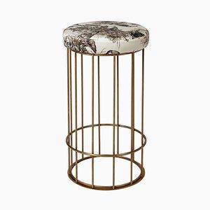 Grand Pouf à Motif Feuille et en Forme de Cage par Niccolo De Ruvo pour Brass Brothers