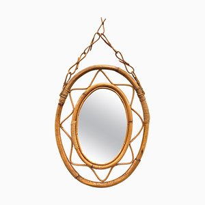 Oval Italian Rattan and Bamboo Mirror by Franco Albini, 1960s