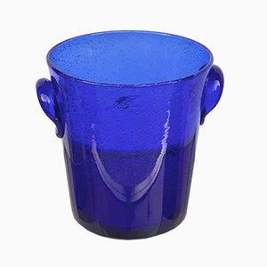 Secchiello per il ghiaccio in vetro blu di La Verrerie De Biot, anni '80