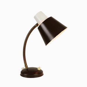 Dark Brown & White Desk Light by H. Th. J. A. Busquet for Hala Zeist, 1960s