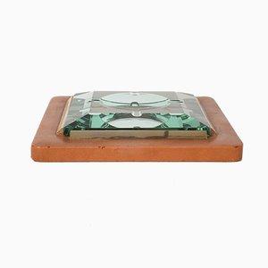 Aschenbecher aus Leder, Messing & facettiertem Glas von Fontana Arte, 1970er