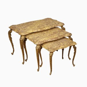 Antique Style Italian Brass & Marble Nesting Tables, 1960s