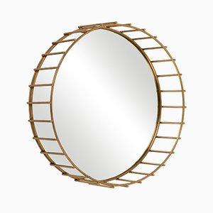 Runder Spiegel mit linearem Rahmen von Niccolo De Ruvo für Brass Brothers