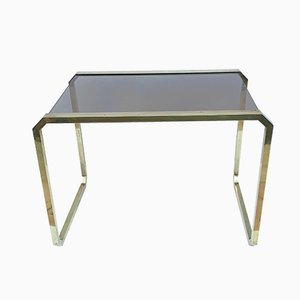 Brass and Smoked Glass Coffee Table by Romeo Rega, 1970s