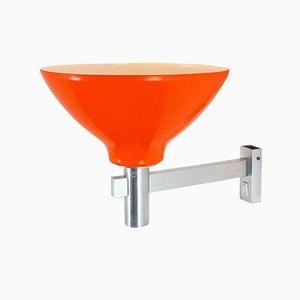 Large Orange Acrylic and Aluminium Wall Light, 1970s