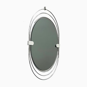 Vintage Stainless Steel Oval Wall Mirror, 1970s
