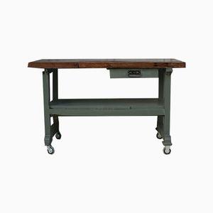 Vintage Grey Oak Worktable, 1950s