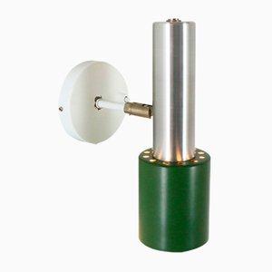 Anpassbare grüne Wandlampe aus Aluminium, 1960er