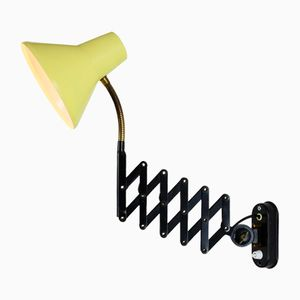 Yellow & Black Scissor Wall Light from Hala Zeist, 1960s