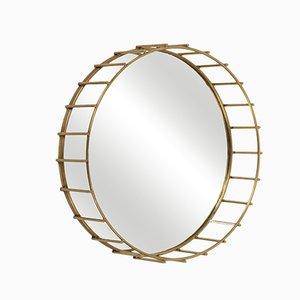 Miroir Cage Rond avec Design Linéaire par Niccolo De Ruvo pour Brass Brothers