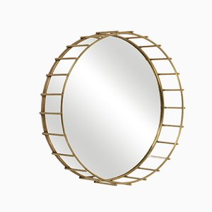 Round Cage Mirror with Linear Design by Niccolo De Ruvo for Brass Brothers