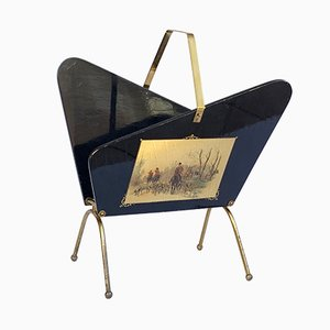 Ebonized Wood & Brass Magazine Rack, 1950s