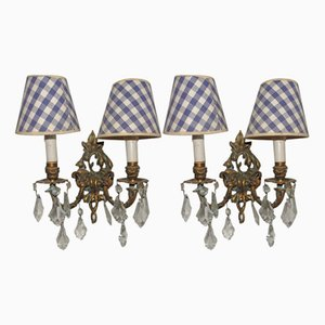 Antique Bronze & Crystal Double Wall Lights, Set of 2