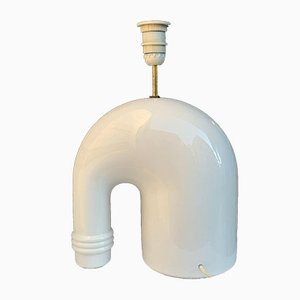 White Ceramic Glazed Elephant Table Lamp by Tommaso Barbi, 1970s