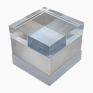 Lucite & Chromed Metal Box, 1970s