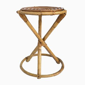 Italian Bamboo and Wicker Stool by Franco Albini for Vittorio Bonacina, 1960s