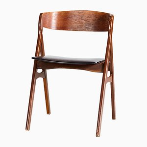 Mid-Century Danish Leather & Teak Side Chair, 1960s