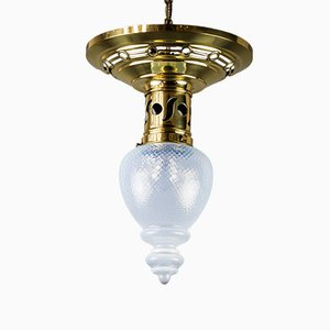 Art Nouveau Ceiling Lamp with Opaline Glass Shade, 1908