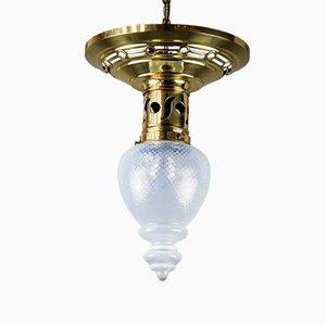 Jugendstil Deckenlampe mit Lampenschirm aus Opalglas, 1908
