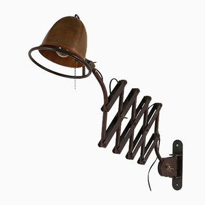 Industrial Metal and Copper Scissor Wall Light, 1980s
